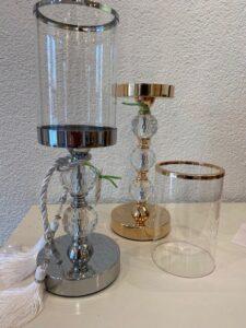 Svícen stříbrný, kov a sklo, v. 35cm, 1.250,-